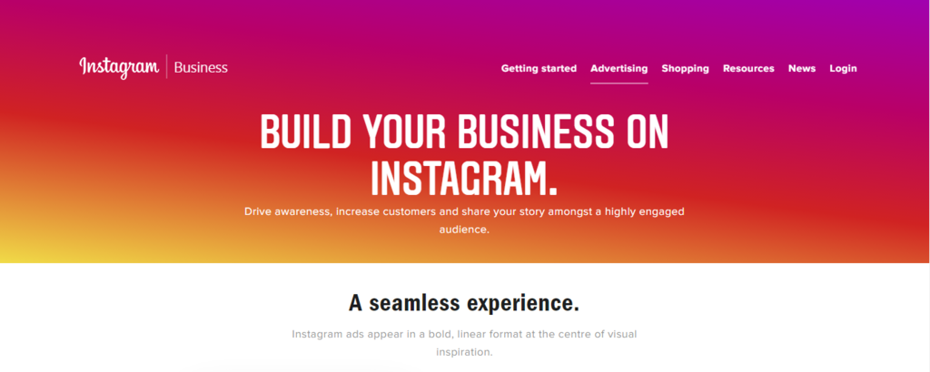 Instagram paid advertising home page