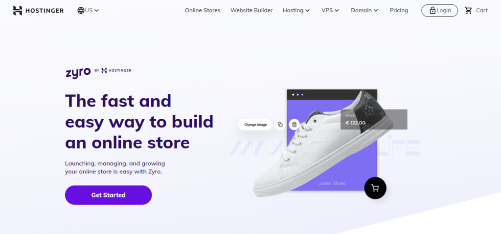 Zyro by Hostinger home page