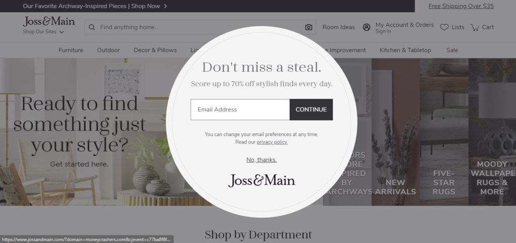 Email marketing pop-up example