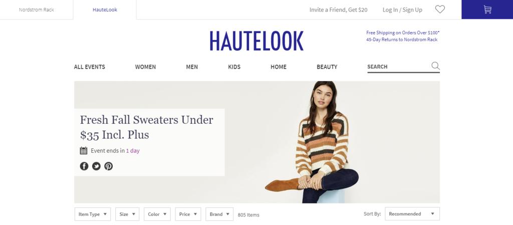 Fashion website flash sale home page