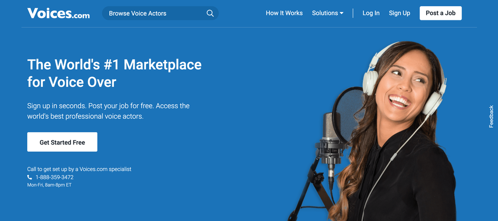 Homepage of Voices.com, a Website for Freelance Voice Actors
