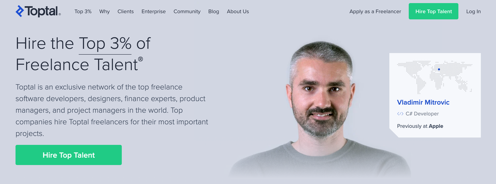 Homepage of Toptal, an Exclusive Freelancer Portal