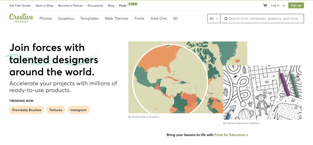 Homepage of Creative Market, a Marketplace for Creative Small Businesses