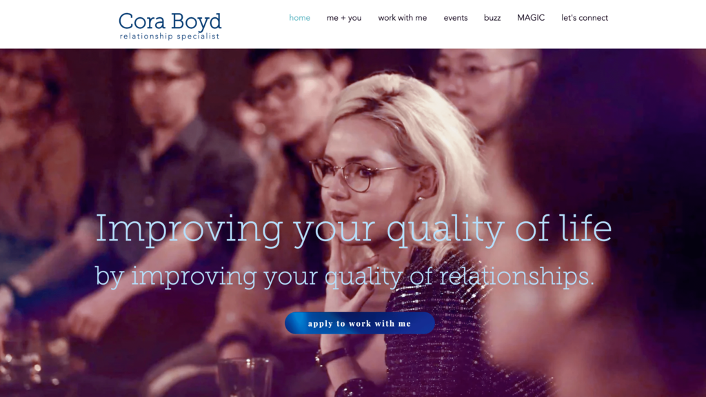 Homepage of Cora Boyd, a Small Business Owner in Dating Consultancy