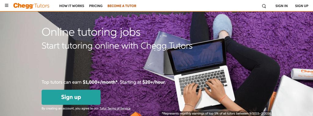Web Page for Chegg Tutors