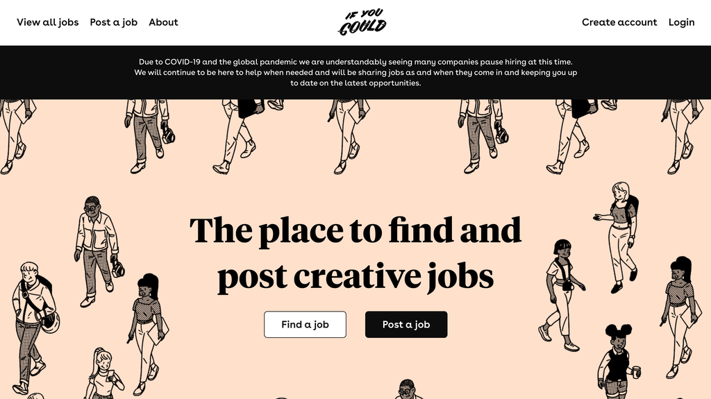 Homepage of If You Could, a Job Portal Site for Creatives