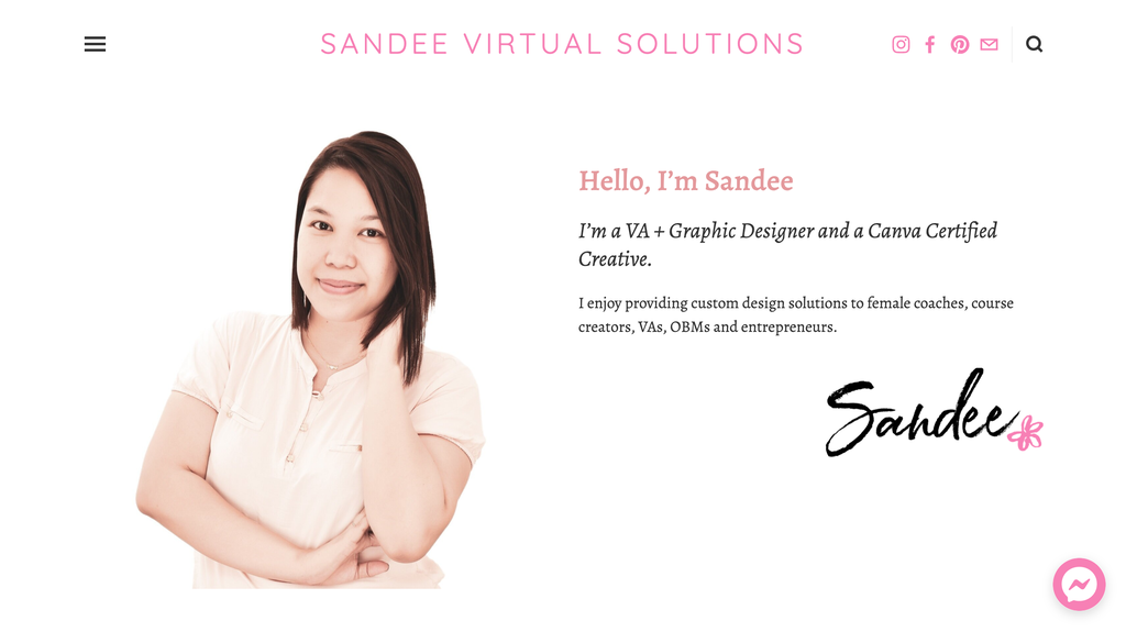 Homepage of Sandee, a Virtual Assistance Small Business Owner