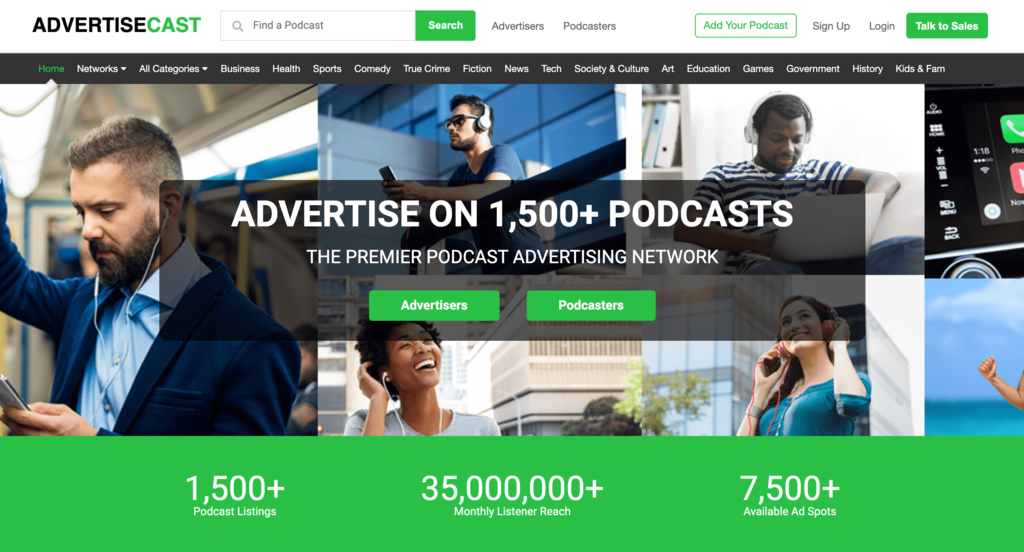 Homepage of AdvertiseCast, an Advertising Network for Podcasts