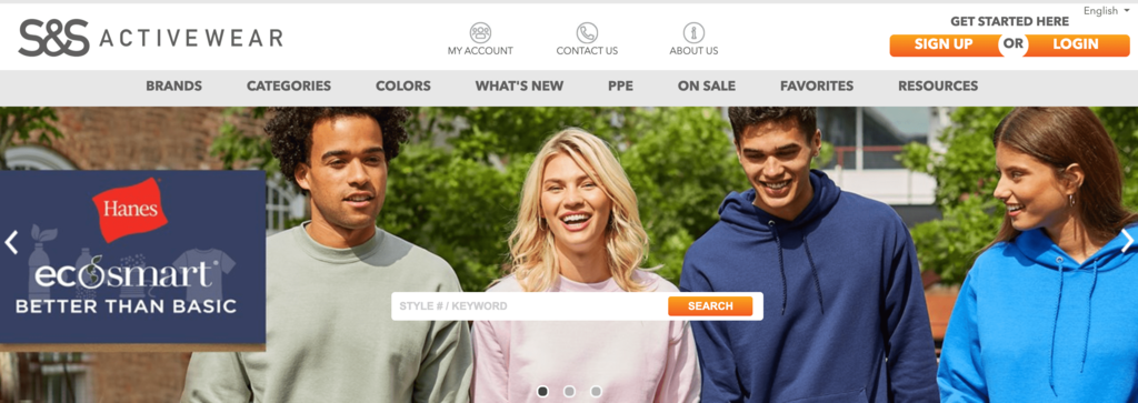 Homepage of S&S Activewear, A Store that Sells Fitness Fashion Items