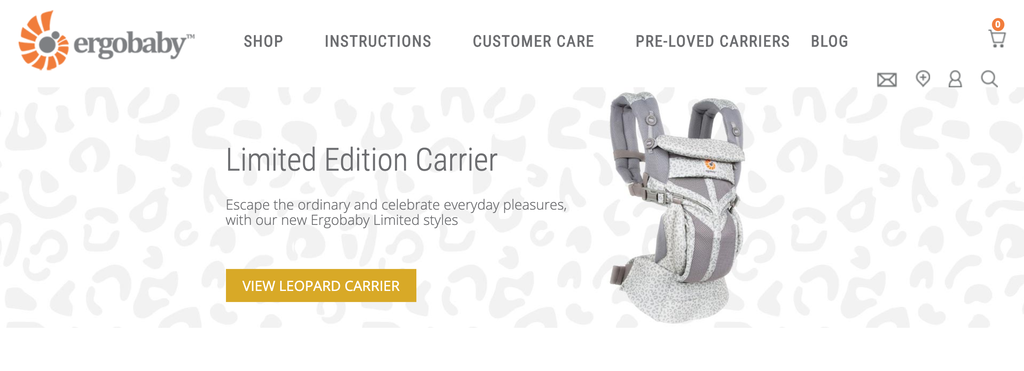 Homepage of Ergobaby, a Trending Product in the Baby Carrier Category