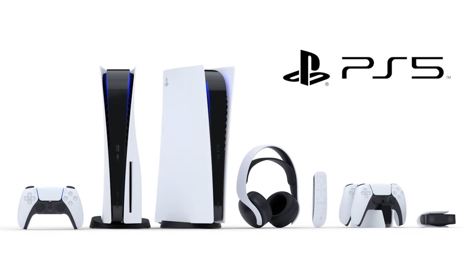 The PlayStation 5 amongst various peripherals like controllers and headsets.