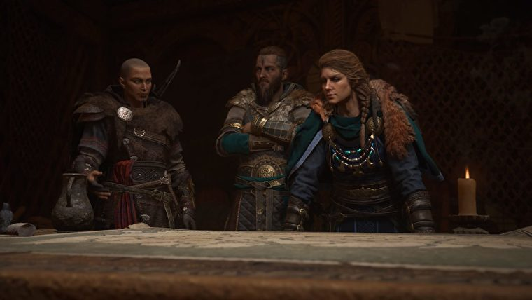 Randvi, Sigurd and Eivor looking at the Alliance Map in Assassin's Creed Valhalla