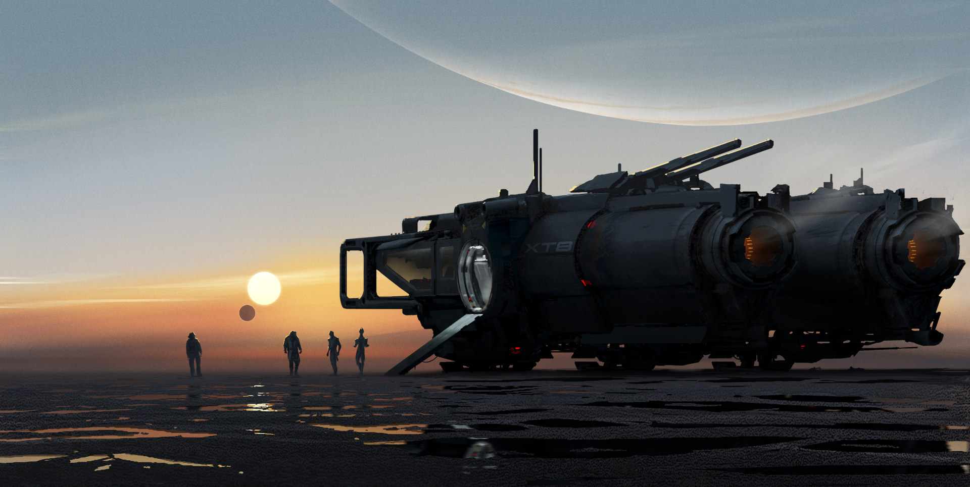 """Concept art for the new Mass Effect, titled """"mud skipper"""""""