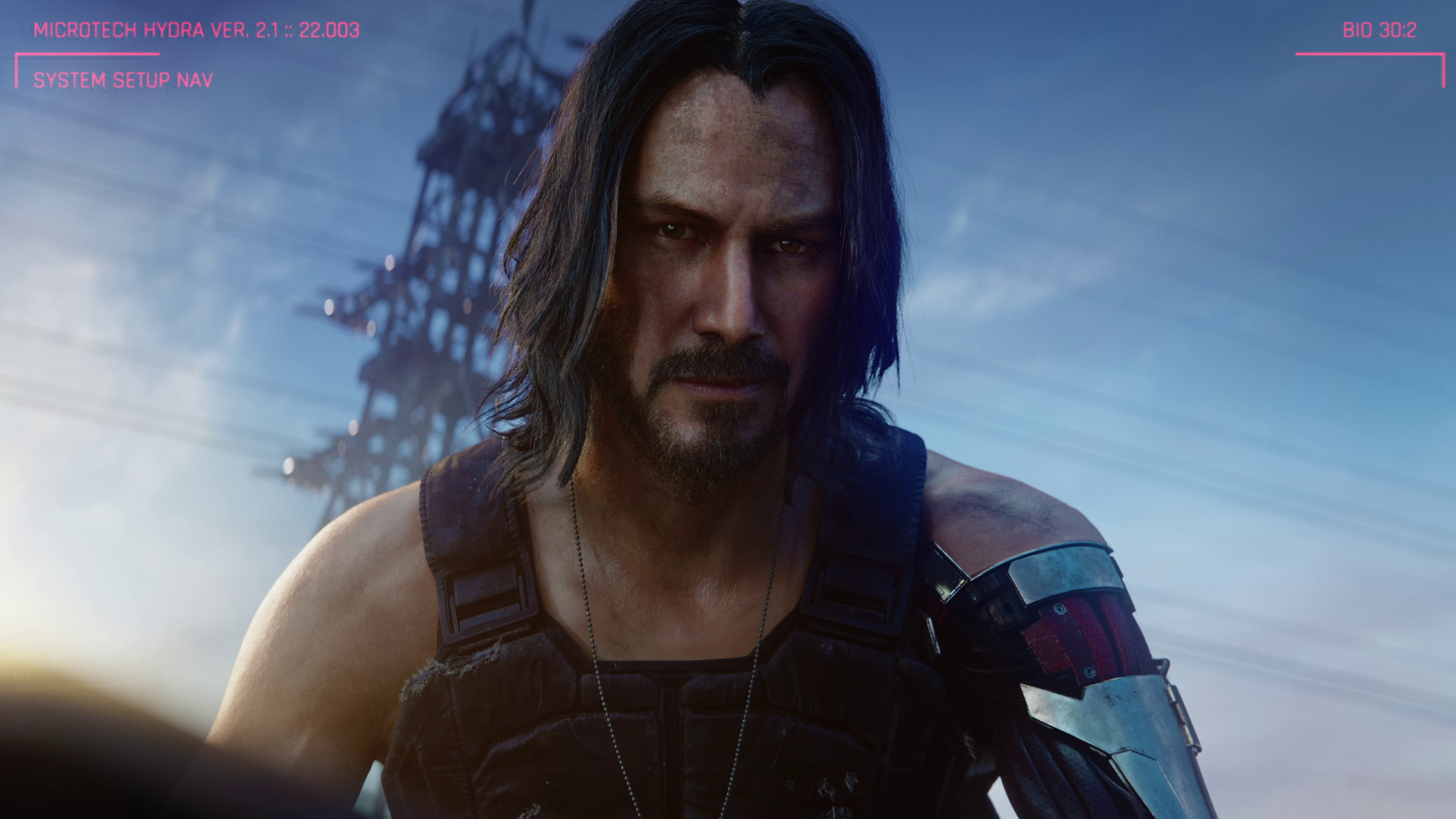 Johnny Silverhand, the Keanu Reeves fella, in a frame from E3 2019's Cyberpunk 2077 cinematic trailer.