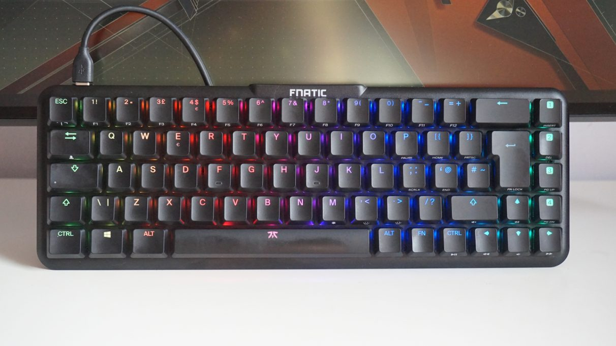 A face-on photo of the Fnatic Streak65 gaming keyboard.