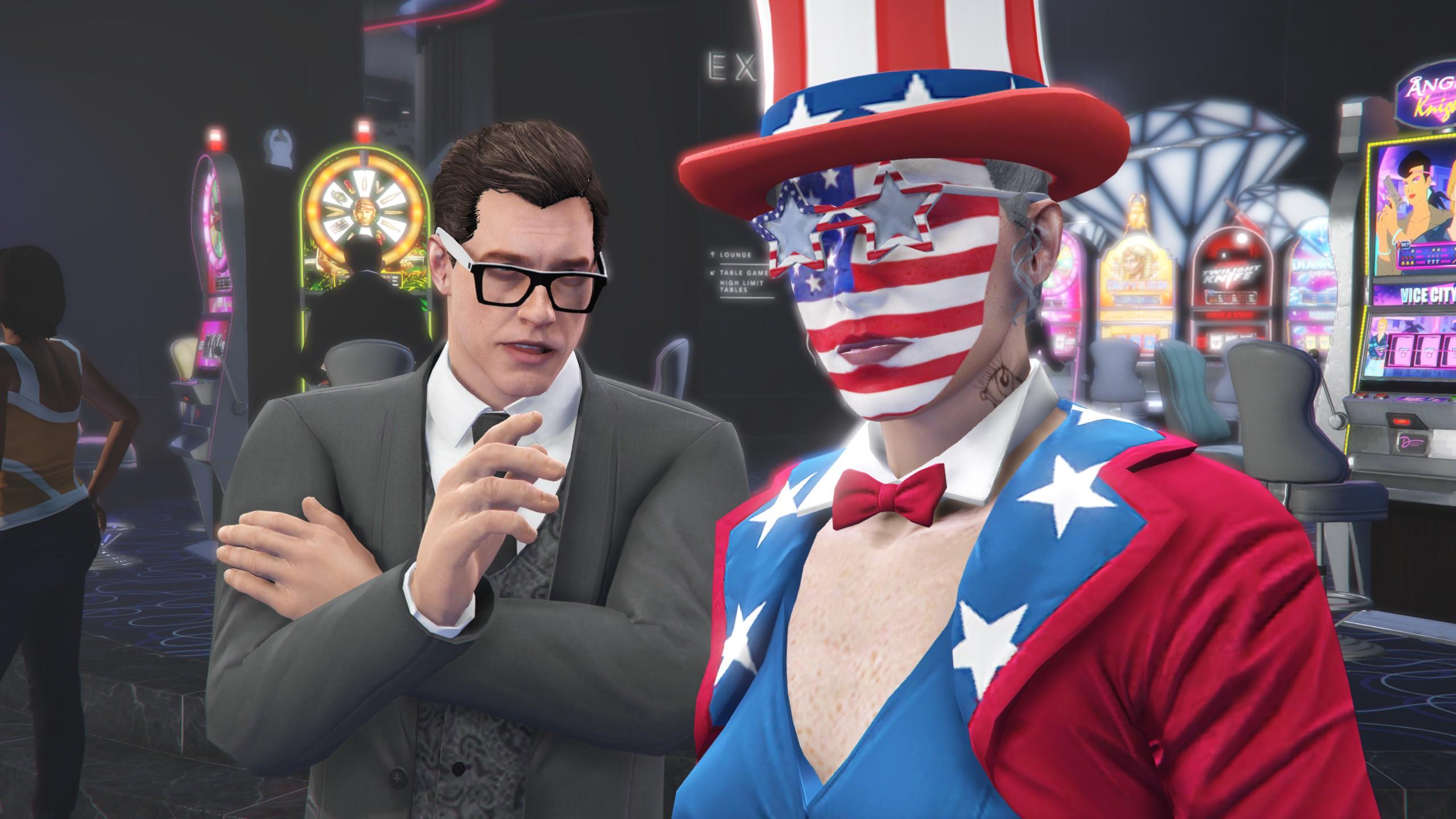 Screenshot of a patriotic GTA Online character.