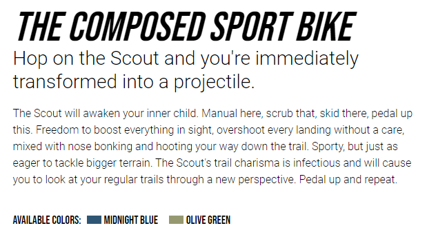 Example of product description from Transition Bike