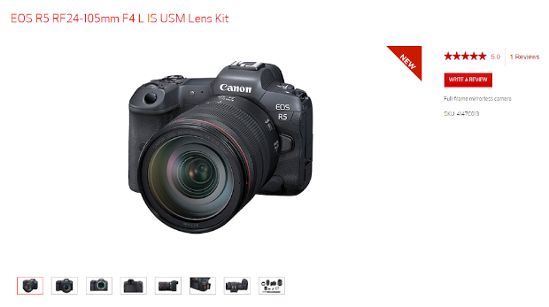 Images options on Canon's product page