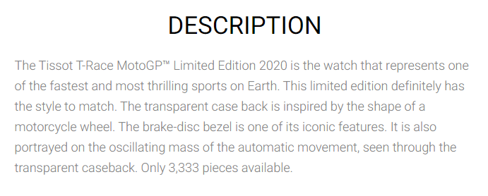 Example of a product description that conveys urgency from Tissot