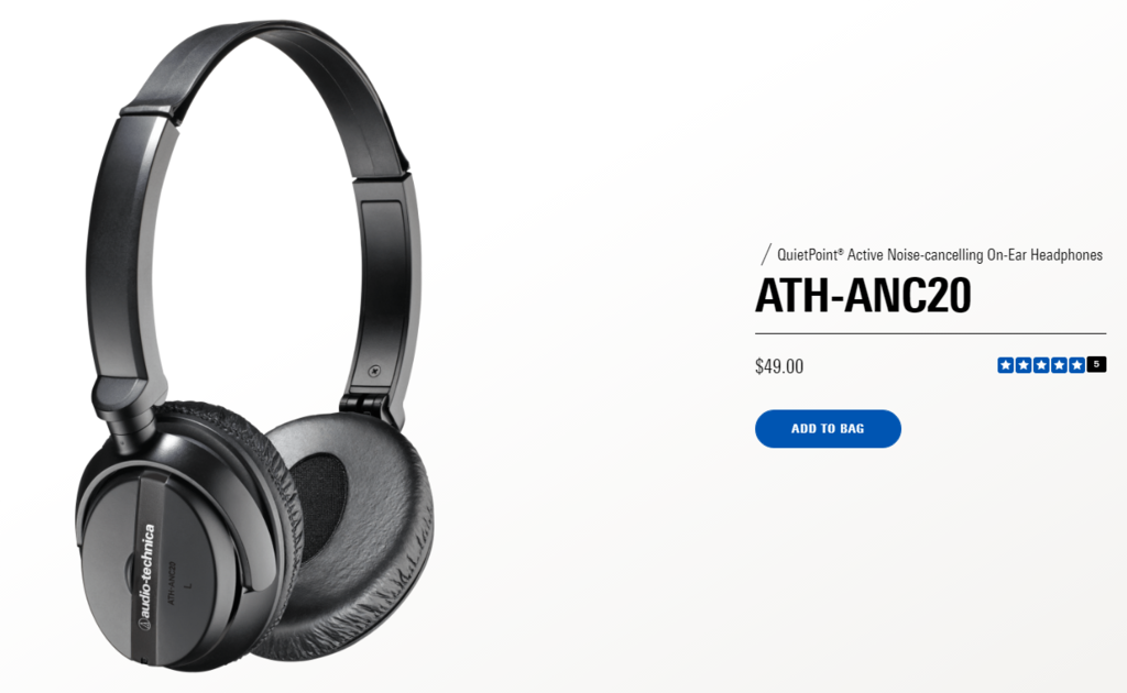 Straightforward price on Audio Technica's product description