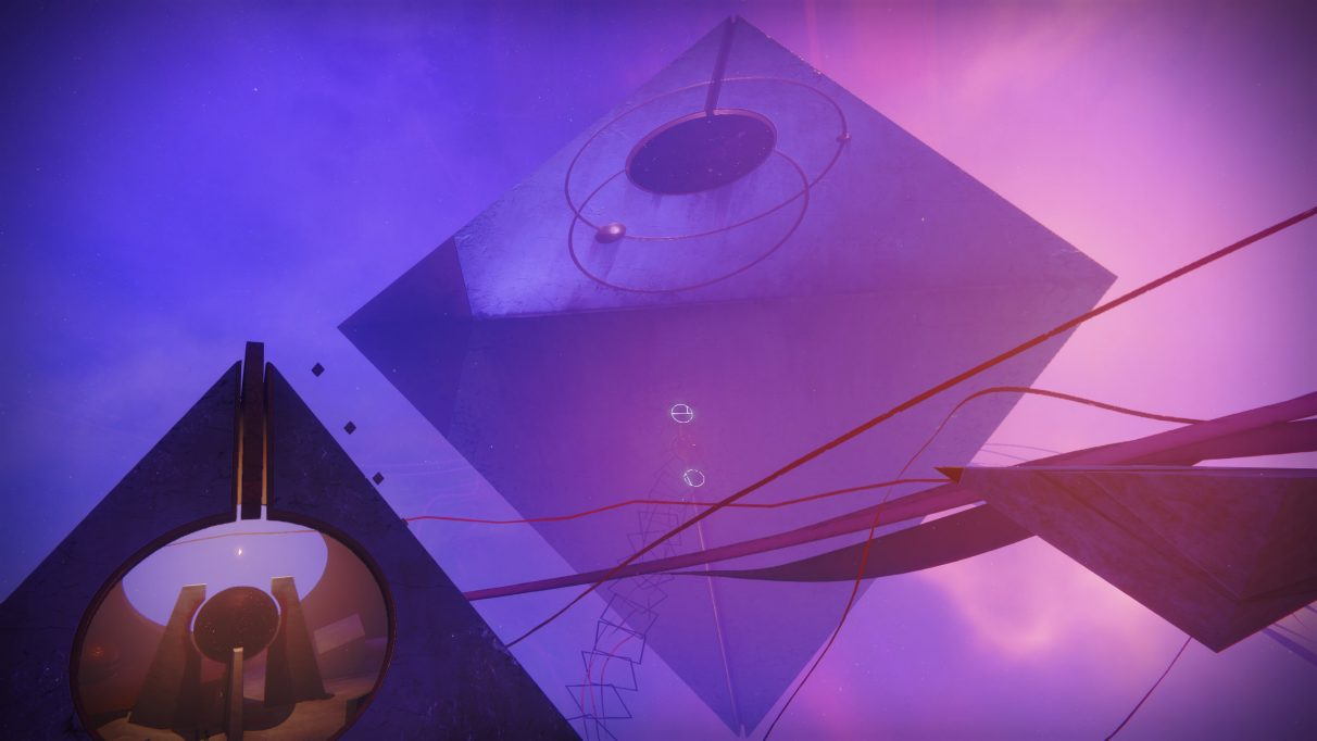 Octahedrons hang in purple-pink space in a screenshot from Destiny 2's Prophecy dungeon.