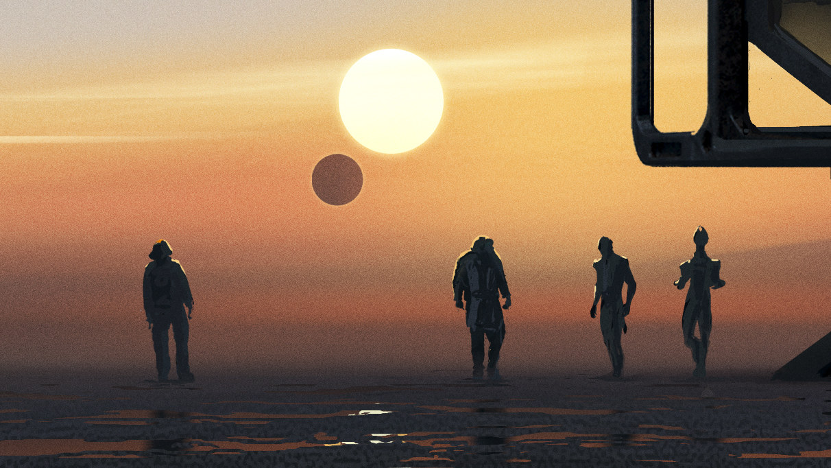 Concept art for the new Mass Effect showing four silhouetted characters on an alien planet.