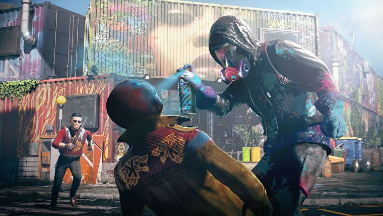 Artwork featuring a hacker spray-painting a goon's face in Watch Dogs Legion.