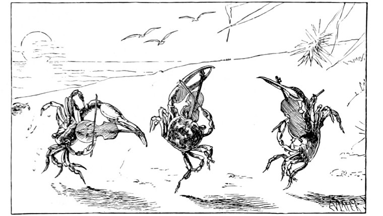 Fiddling crabs in an illustration from 'When Life is Young: a collection of verse for boys and girls'.