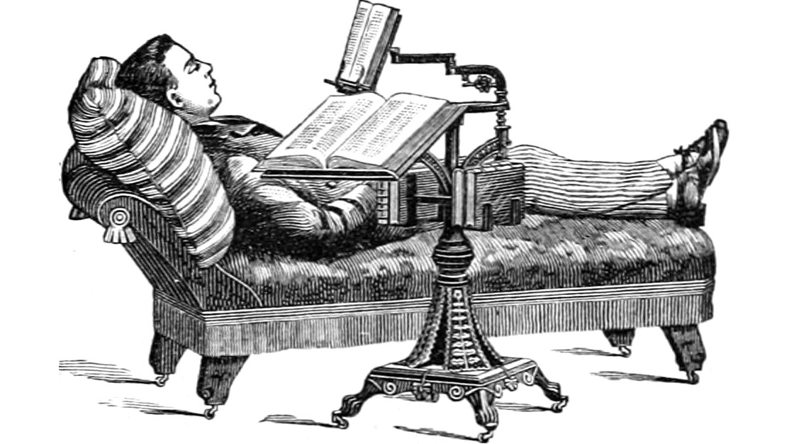A man reading books from a many-armed reading table in an illustration from 'The Century illustrated monthly magazine.'.