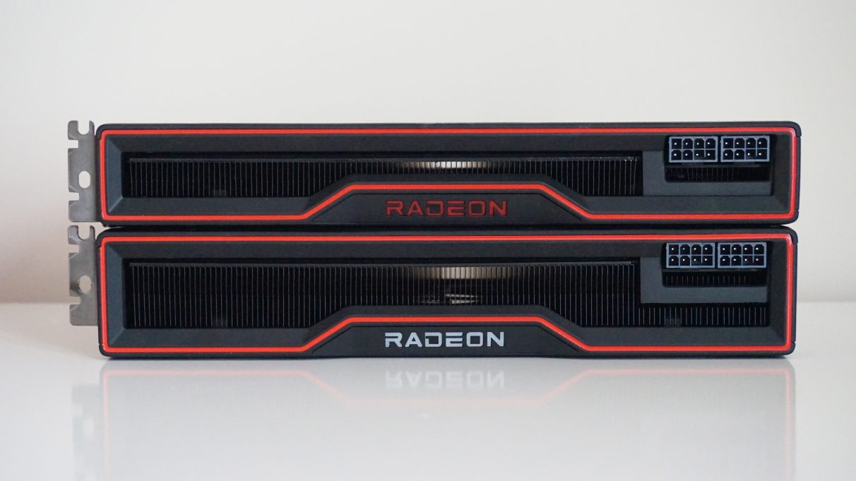 A side-on photo of the AMD Radeon RX 6800 graphics card on top of the RX 6800 XT.